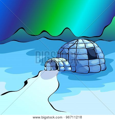 Northen Lights And Igloo