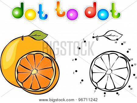 Cartoon Orange Dot To Dot