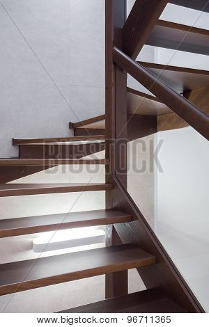 Wooden Brown Stairs In Apartment