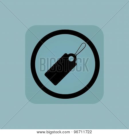 Pale blue string tag sign