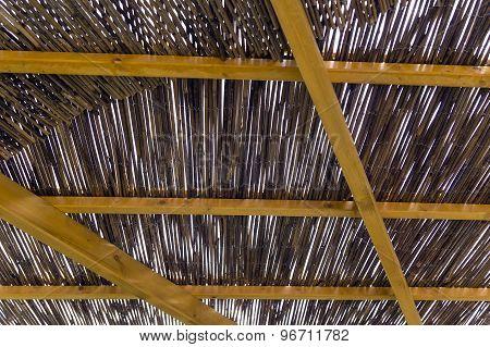 Pergola Made Of Reeds And Beams
