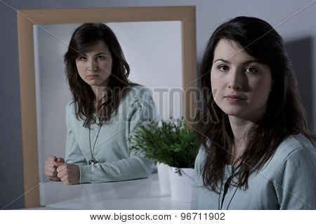 Woman Pretending Calm