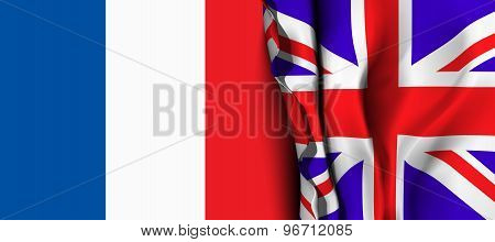 Flag of United Kingdom over the France flag.
