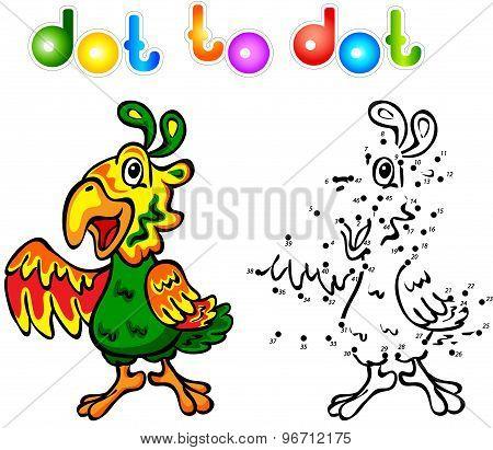 Funny Cartoon Parrot Dot To Dot