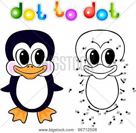 Funny Cartoon Penguin Dot To Dot