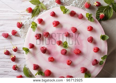 Delicious Sweet Cheesecake With Raspberries Horizontal Top View