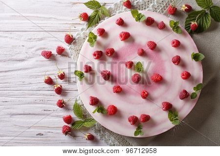 Raspberry Cheesecake With Mint Close-up Horizontal Top View