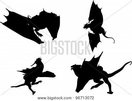 Dragon Silhouette In Hunting Run