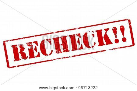 Rubber stamp with word recheck inside vector illustration