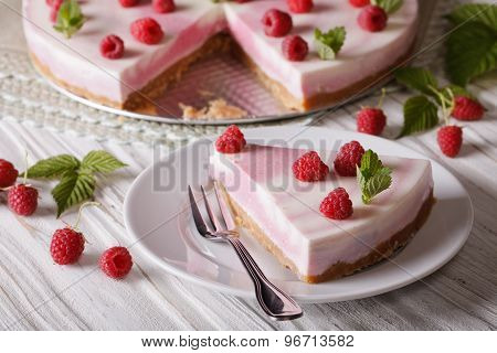 Homemade Delicious Piece Cheesecake With Raspberries