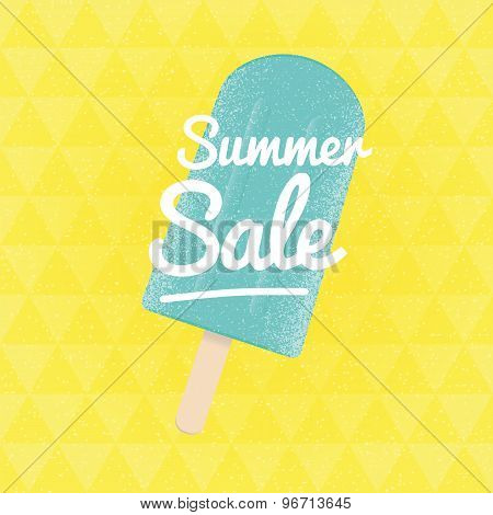 Summer Sale. Vector Triangular Background With Ice-cream.