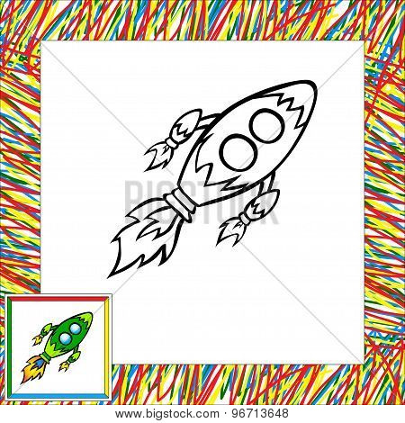 Cartoon Rocket (third). Coloring Book