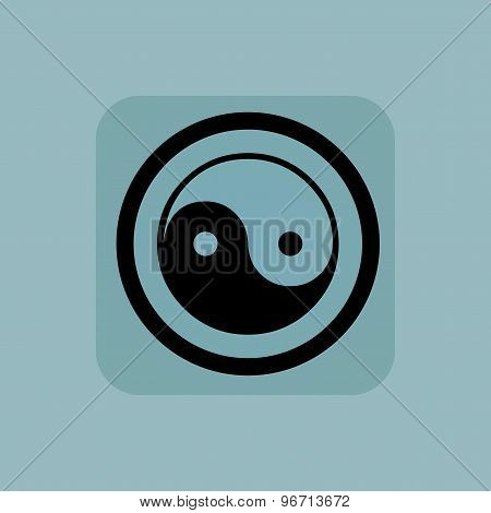 Pale blue ying yang sign