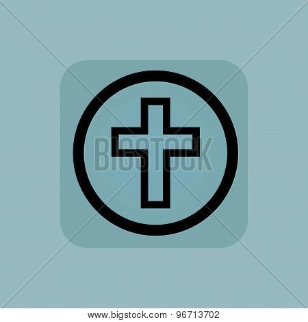 Pale blue christian cross sign