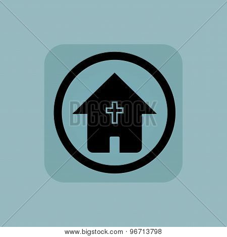 Pale blue christian house sign