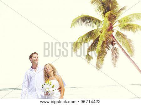 Couple Romance Beach Love Marriage Concept