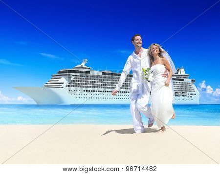 Marriage Couple Honeymoon Beach Summer Concept