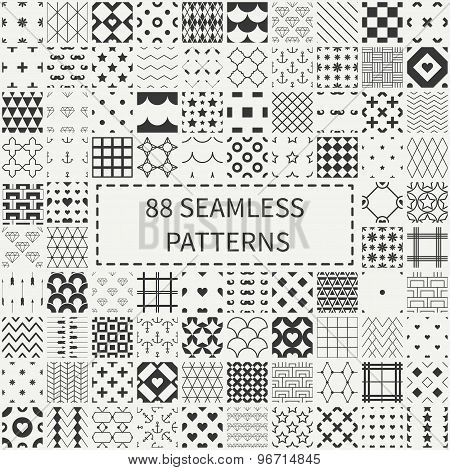 Mega set of 88 monochrome geometric universal different seamless decorative patterns. Wrapping paper