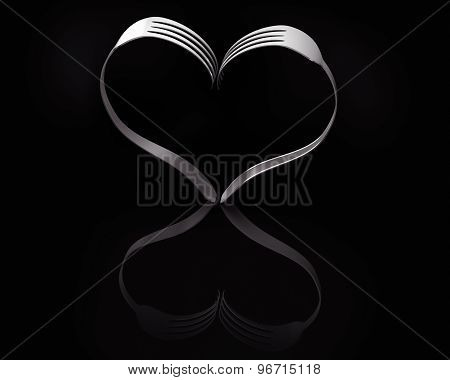 Forks Heart Black Reflection