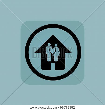 Pale blue family house sign