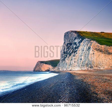 Durdle Door Coastline Sunset Sea Scenic Nature Concept