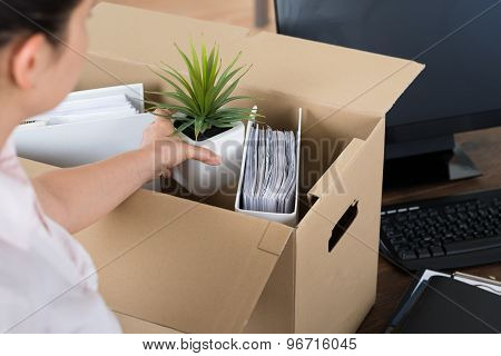 Businesswoman Packing Belongings In Cardboard Box
