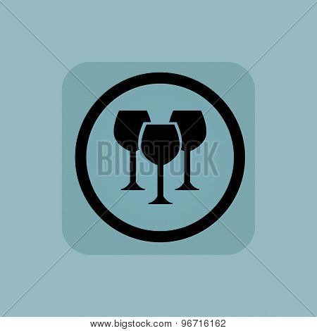 Pale blue wine glass sign