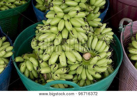 Green Banana Bundle In Basket Ready To Sell