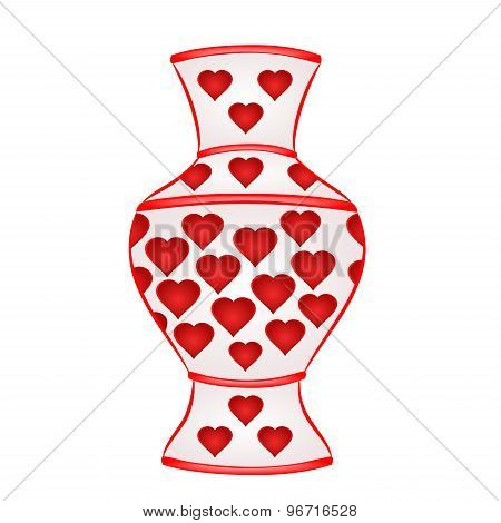 Vase With Red Hearts Vector