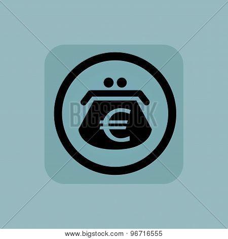 Pale blue euro purse sign