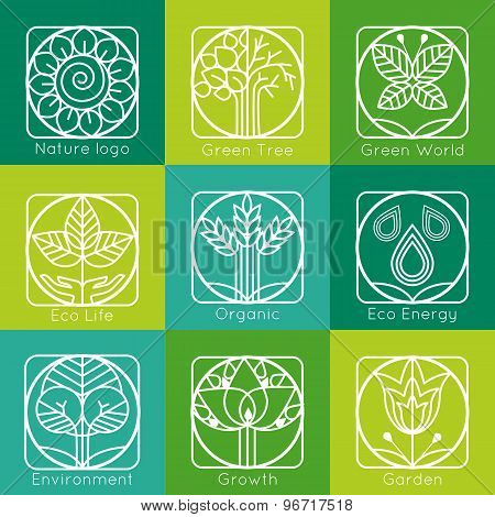 Set of outline tree monograms and logos. Abstract organic, ecology and bio design elements and badge