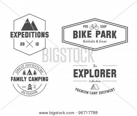 Set Of Outdoor Explorer, Family Camp Badge, Logo And Label Templates. Travel, Hiking, Biking Style.