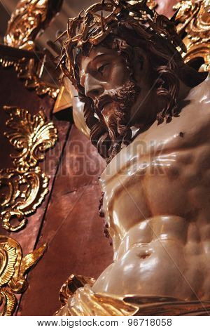 Crucified Jesus Christ Statue (fragment. Baroque Style)