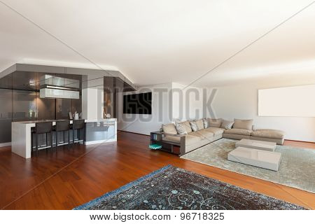 Interior of apartment, wide living room, parquet floor