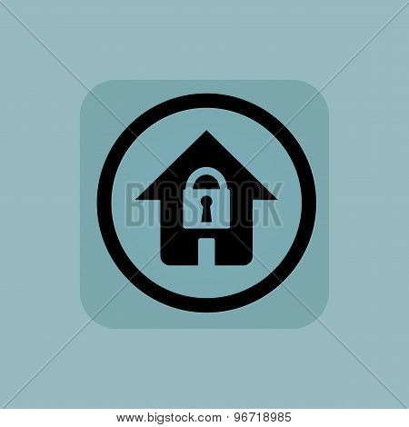 Pale blue locked house sign