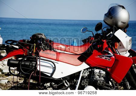 Honda Motorbikes On The Beach
