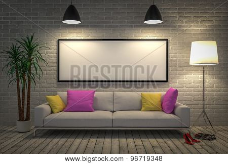 Mock Up Blank Poster On The Wall With Lamp And Sofa