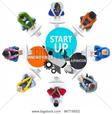Start up Business Plan Innovation Aspiration  Concept