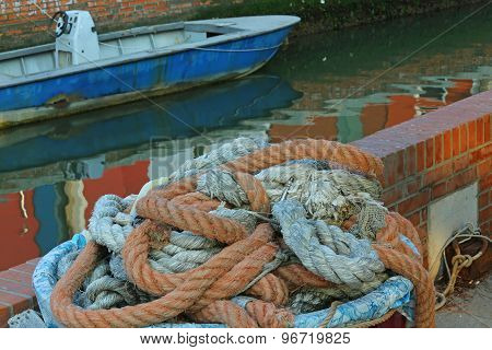 Large Robust Fishing Ropes Used By Fishermen To Moor The Boat