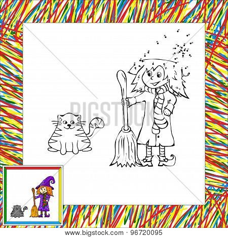 Cartoon Witch With Cat Dot To Dot