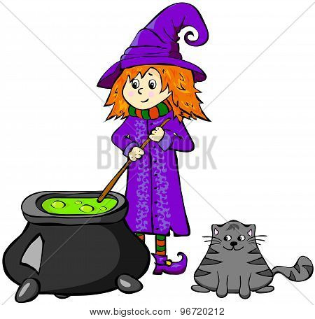 Witch Cooking A Potion In A Cauldron