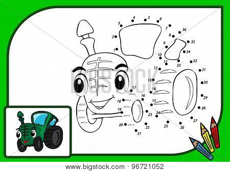 Coloring Book Dot To Dot Tractor