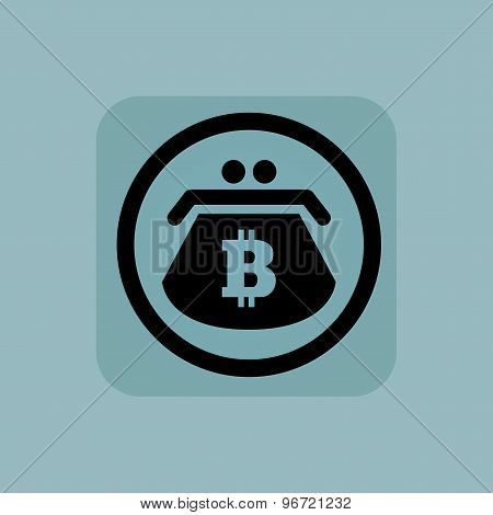 Pale blue bitcoin purse sign