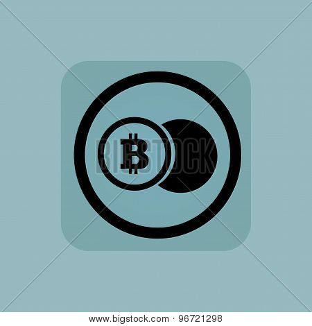 Pale blue bitcoin coin sign
