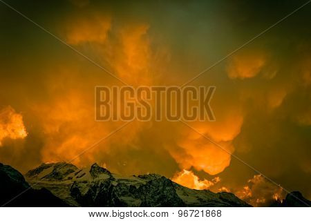 Abstract Clouds In The Mountains
