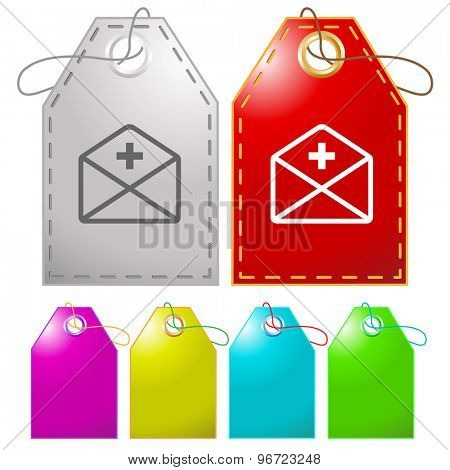 mail plus. Vector tags.
