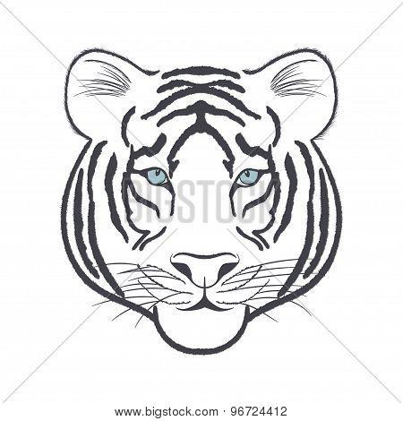 White Tiger Head - Vector Iillustration