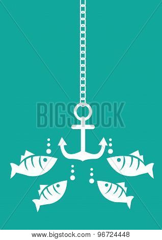 Fish And Anchor Underwater Vector Illustration