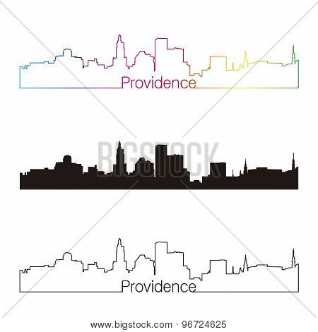 Providence Skyline Linear Style With Rainbow