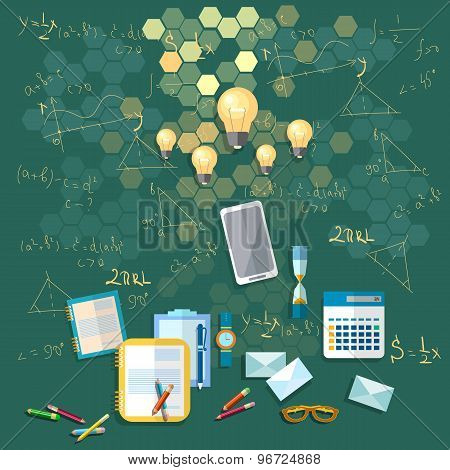 Education: School Board, Training, Formulas, University, College, School, Math, vector illustration